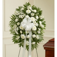 Funeral_Deepest Sympathies Standing Spray - White