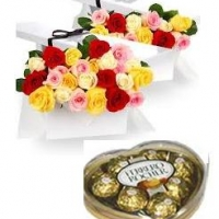 18 Multicolored Roses w/ferrero