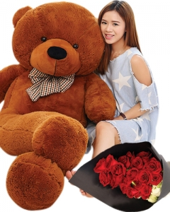 4ft teddy w/12 red roses Bouquet
