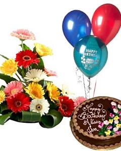 3 Balloons Chocolate Cake Mix Gerberas Basket