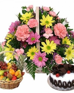 flower basket, cake & fruits
